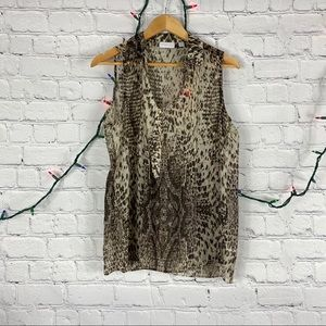 NY&Co Brown Leopard Sleeveless Career Blouse M